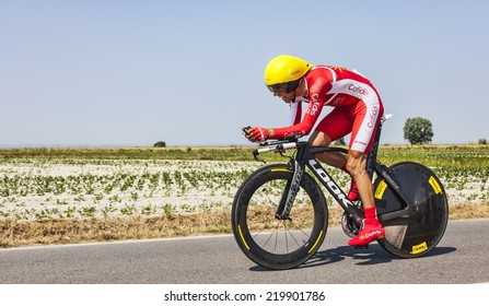 ARDEVON,FRANCE-JUL 10:The Spanish cyclist Daniel Navarro Garcia from Team Cofidis cycling during the stage 11(time trial Avranches -Mont Saint Michel) of Le Tour de France on July 10, 2013