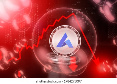 Ardor ARDR coin in a soap bubble. Risks and dangers of investing to Ardor cryptocurrency. Collapse of the exchange rate. Unstable concept. Down drop crash bubble