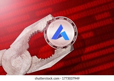 Ardor regulation, control; Ardor ARDR cryptocurrency coin being squeezed in vice, under pressure; limitation, prohibition, illegally