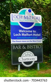 ARDUAINE, SCOTLAND -18 JUL 2017- View of the luxury Loch Melfort Hotel located next to the landmark Arduaine Garden on the North Atlantic Ocean over the Sound of Jura.