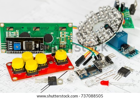 arduino components electronic components over electronic stock photoarduino components and electronic components over electronic diagram, printed wiring, transistors, integrated circuits