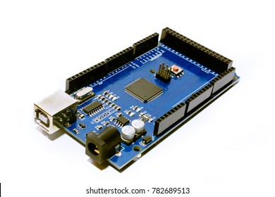 Arduino DIY board for makers - Mega isolated on white background close up.