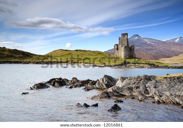 Ardvreck Castle on the shore of Loch Assynt, Scotland