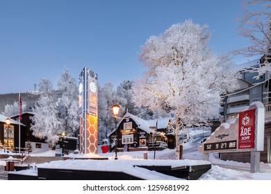 Are, Sweden - Dec 14, 2018: Monument at the city square at Are ski resort in Sweden, telling about the Alpine World Ski Championships in 2019 in Are.
