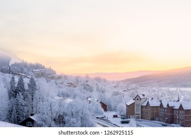 Are, Sweden - Dec 14, 2018: Sunrise view in the valley just outside Are ciy.