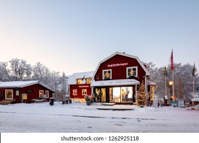 Are, Sweden - Dec 14, 2018: Peak Performance general store in Are, a Swedish clothing brand in functional sportswear