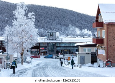 Are, Sweden - Dec 14, 2018: Street down to Are railway station with daily departures out to Sweden.