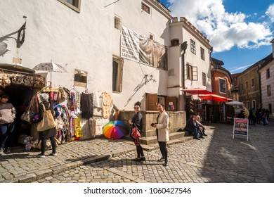 The area around Cesky Krumlov is a great place to shop and many restaurant in Prague Czech Republic 19th September 2017