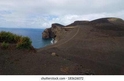 Area around ofCapelinhos lighthouse in Faial island, Azores Portugal