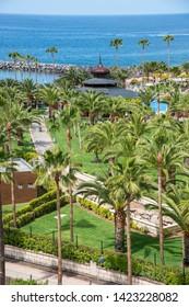 Area of gardens on the coast of Adeje, Tenerife, Canary Islands