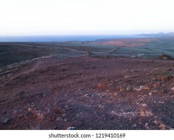 Area of Montana Roja, Lanzarote, Canary Islands. Montana Roja is a volcano in Playa Blanca, Lanzarote Islands.