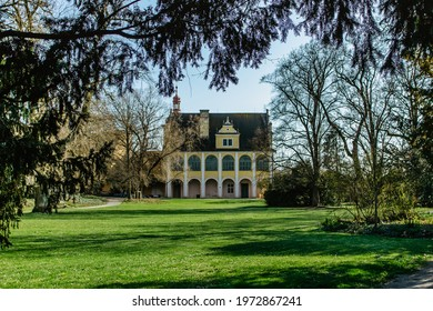 The area of Opocno castle with beautiful park in English style and Summer Residence in Renaissance style, Czech republic. Romantic garden architecture.Aristocratic residence in East Bohemia. - Shutterstock ID 1972867241