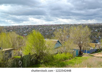 Area of private building in the early spring. Elista, Kalmykia