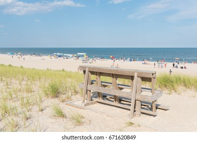 Area for sitting on the sand dunes at the beach. Atlantic Ocean - Long Beach Island, New Jersey background