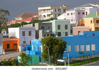 Area Street Bo Kaap (Cape Town, South Africa) brightly coloured houses.