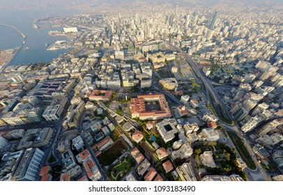areal drone view of Beirut city capital of Lebanon