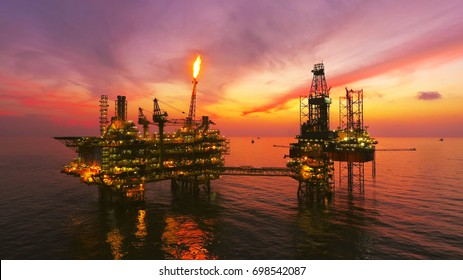 Areal Photography oil and gas platform taken by drone.