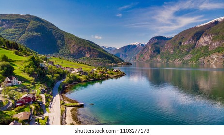 Areal shot of Aurland in Norway
