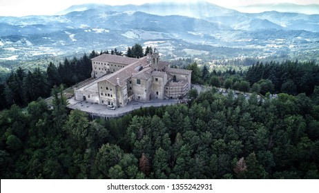 Areal view of an amazing Monastery called Montesenario at only 30 minutes far from Florence, Toscany, Italy