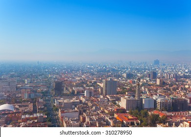 Areal view of the downtown Mexico capital city from Torre Latinoamericana to the south west direction