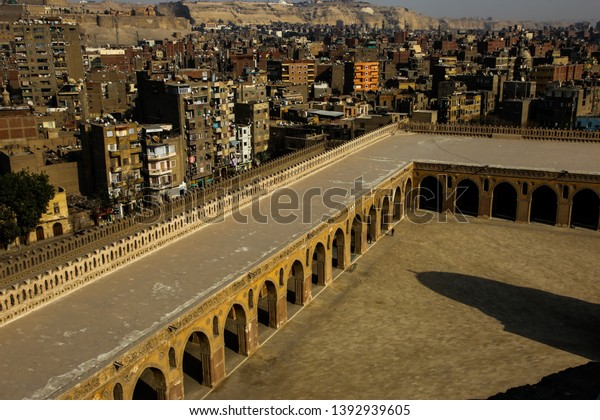 Areal view from the historic and famous Ibn Tulun mosque in Cairo, Egypt; View of historic Cairo