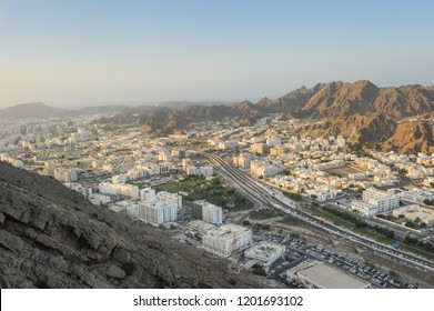 Areal view of Muscat city, Wadi Kabir, Oman