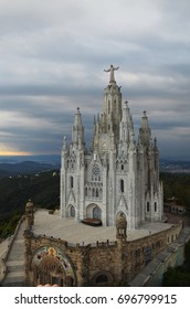 The areal view on the Expiation Church of the Sacred Heart of Jesus (Temple Expiatori del Sagrat Cor) during sunset in Barcelona, Spain