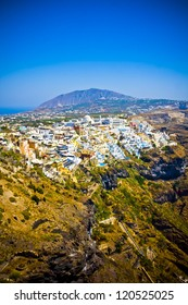 Areal view on Fira city in Santorini