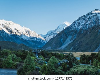Areal view over the Hooker Valley from the Mueller Hut Track with Mount Cook in the distance