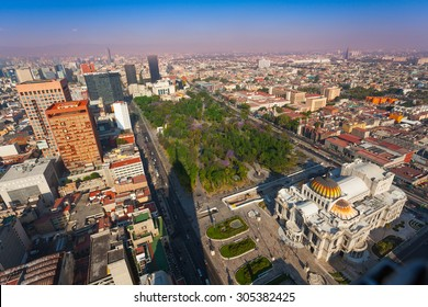 Areal view of the Palace of fine arts, central Alameda park and downtown Mexico capital city from Torre Latinoamericana to the north west direction