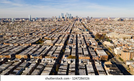 Areal view of the urban sprawl and row houses in south Philly Pennsylvania