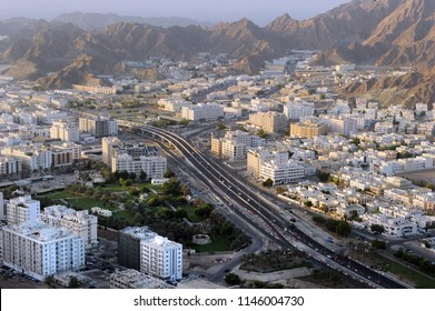 Areal view of Wadi Kabir, Muscat City, Oman,