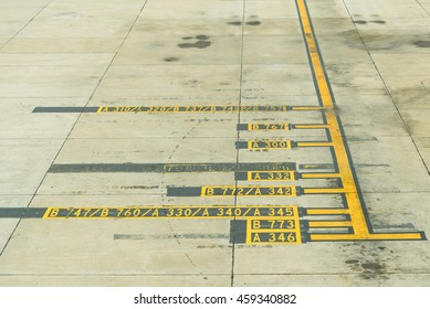 Arear Aircraft parking ,Yellow taxi line for parking