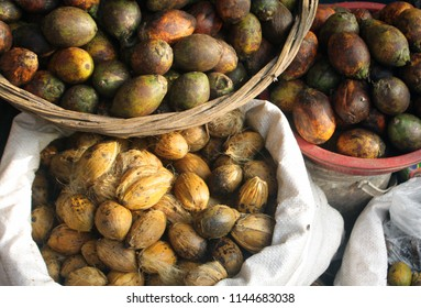 Areca nut aka betel nut at a market for sale. Paan is sold in ready-to-chew pouches called pan masala/ supari, as a mixture of many flavours whose primary base is areca nut crushed into small pieces