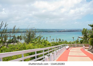 ARECIBO, PUERTO RICO – JULY 30, 2018: Walkway leading to Arecibo Lighthouse overlooking Atlantic Ocean off Puerto Rico's northern coast.