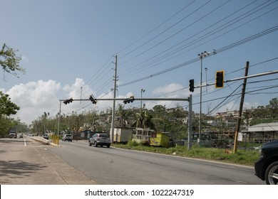 Arecibo, Puerto Rico / United States - Dec 6 2017: Almost three months after Hurricane Maria, the power grid, traffic lights and signs remain broken on most of the island.
