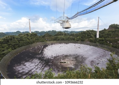 Arecibo, Puerto Rico, USA, 25 June 2017 - Arecibo Observatory.  This radio telescope was the larges't in the world for more than 50 years until 2016.