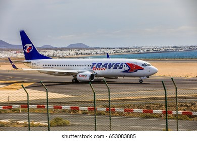 ARECIFE, SPAIN - APRIL, 15 2017: Boeing 737-800 of TRAVEL Service with the registration OK-TVE ready to take off at Lanzarote Airport