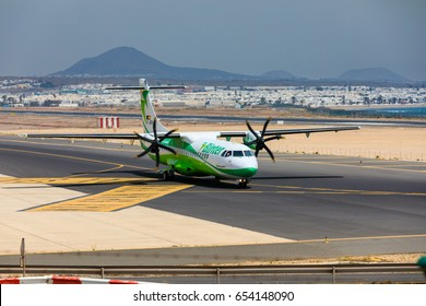 ARECIFE, SPAIN - APRIL, 16 2017: ATR 72 of Binter with the registration EC-JEH ready to take off at Lanzarote Airport