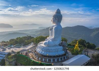 areial photography Phuket big Buddha in blue sky. Phuket Big Buddha is one of the Phuket island most important and revered landmarks on Phuket island.