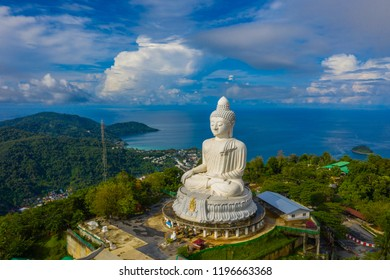 areial view white cloud in blue sky at Phuket big Buddha. Phuket Big Buddha is one of the island most important and revered landmarks on the island.