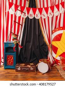 arena circus clown drum suitcase.Interior.