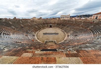 Arena di Verona. The roman amphitheater of Verona. Interior view