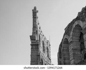 Arena di Verona roman amphitheatre in Verona, Italy in black and white