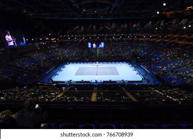 Arena O2, London, England – November 19, 2017: Nitto ATP Tennis Finals 2017. A view of O2 Arena during the match between  Grigor Dimitrov (BUL) and David Goffin (BEL)