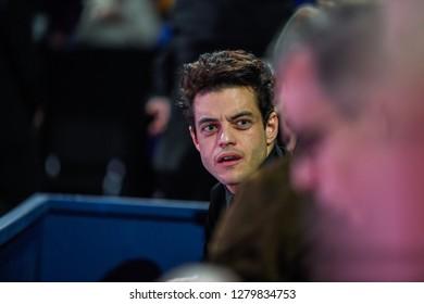 Arena O2, London, UK – November 19, 2017: TENNIS, Rami Said Malek (Elliot in Mr. Robot, Freddie Mercury in Bohemian Rhapsody, etc.) enjoy the final game between Grigor Dimitrov & David Goffin at Nitto
