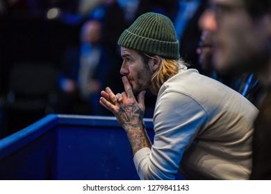 Arena O2, London, UK – November 19, 2017: TENNIS, David Beckham enjoy the final game between Grigor Dimitrov & David Goffin at Nitto ATP Finals World Tour in London's indoor Arena O2
