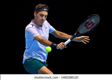 Arena O2, London, UK – November 18, 2017: Professional Swiss Tennis player Roger Federer in action during the Nitto ATP semi-finals match against David Goffin from Belgium at O2 indoor Aren