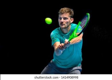 Arena O2, London, UK – November 19, 2017: Belgium's tennis player David Goffin playing in final match against Bulgaria's Grigor Dimitrov during the Nitto ATP Finals 2017 at O2 indoor Arena, London