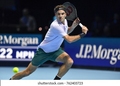 Arena O2, London, UK – November 18, 2017: Professional Swiss Tennis player Roger Federer in action during the Nitto ATP semi-final's match against David Goffin from Belgium at O2 indoor Arena